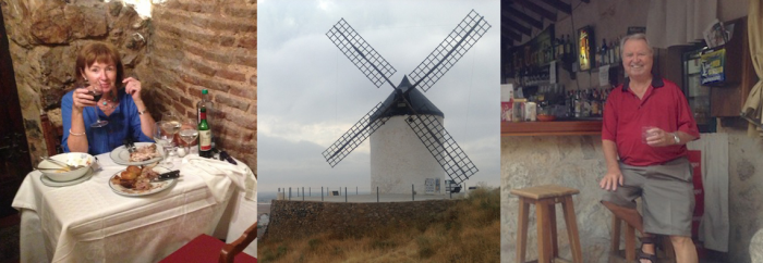 Picture of Annie, Bobby and a windmill in Spain